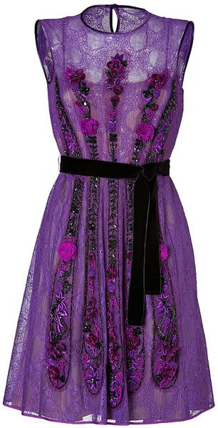 Alberta Ferretti Purple Lace Dress in Purple