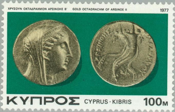 Sello: Gold Octadrachm of Arsinoe II (227 B.C.) (Chipre) (Ancient Coins of Cyprus) Mi:CY 471,Sn:CY 482,Yt:CY 466