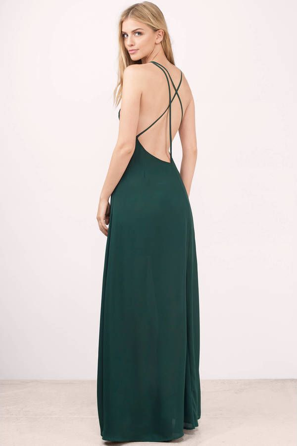 "Search ""Madi Green Maxi Dress"" on Tobi.com! strappy open low caged back unique gown floor length formal homecoming wedding guest best solid summer spring winter fall cheap shop buy inexpensive"