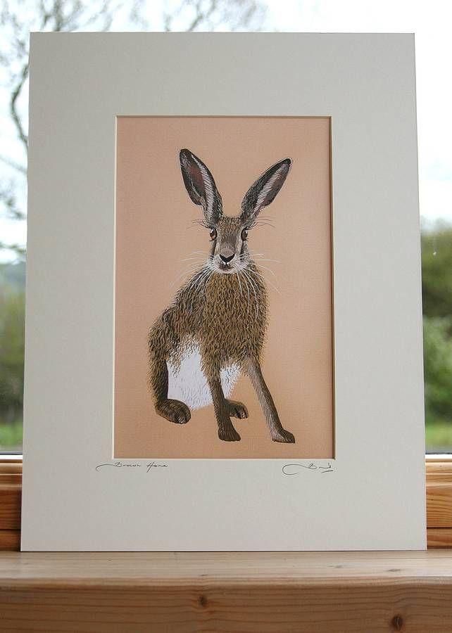 'brown hare' mounted print by bird | notonthehighstreet.com