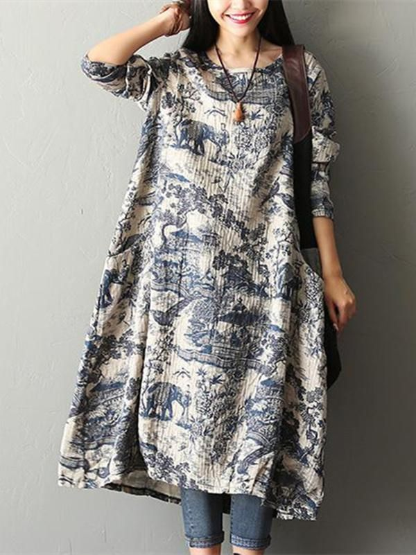1f4a519f18c5 Printed Long Sleeves Ramie Cotton Maxi Dress in 2019