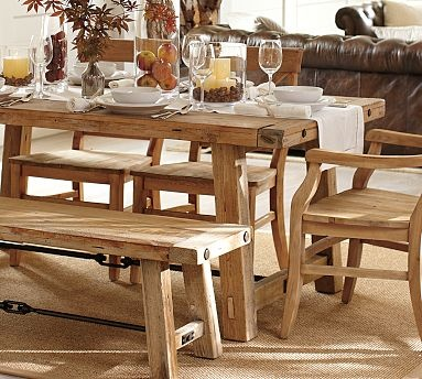 Benchwright Reclaimed Wood Fixed Dining Table - Wax Pine finish #potterybarn