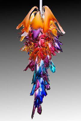 "Barry Entner – Corona, actual Size 6' h x 34"" w x 34""d, steam blown glass, steel armature"