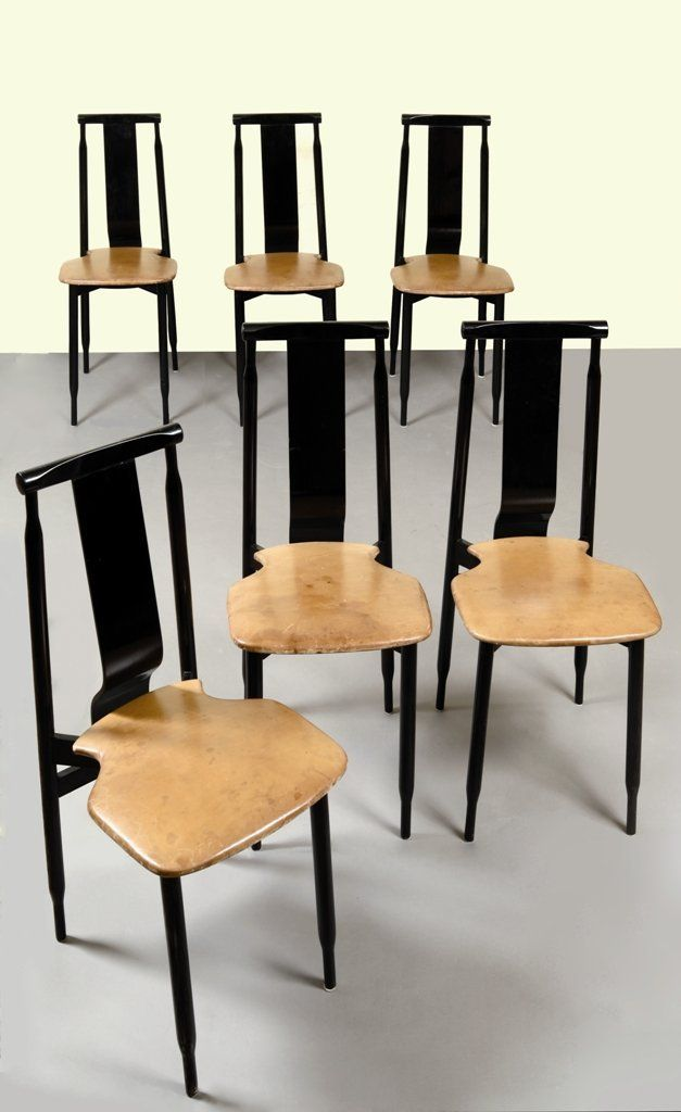achille and pier giacomo castiglioni lacquered wood and leather chairs for gavina