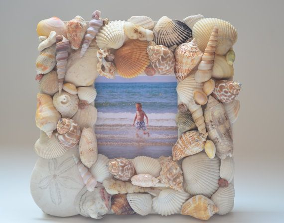 Sea Shell Picture Frame by Mosaicsmadewithlove on Etsy, $50.00