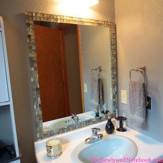 Make Photo Gallery Tile mirror DIY create a unique upscale mirror for under