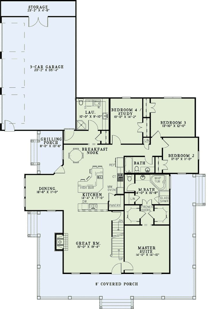 First Floor Plan of Country Farmhouse House Plan 62207 - not a huge fan of wrap-around porches but I love the floor plan