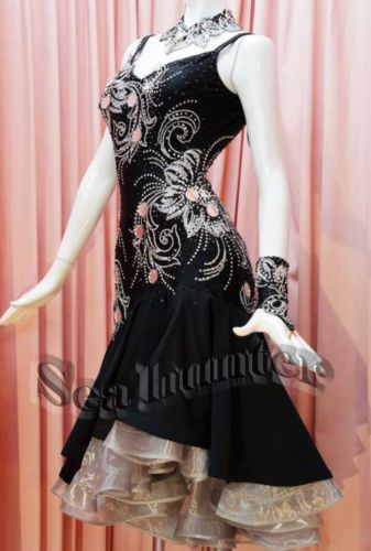 Ballroom-Latin-Rhythm-Rumba-Salsa-Dance-Dress-US-10-UK-12-Black-White-Sliver