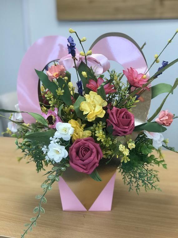 Artificial Flower Arrangement Mothers Day Pink Heart Gift Bag Rose Wild Flower Arrangement Gift In 2020 Wild Flower Arrangements Artificial Flower Arrangements Flower Arrangements