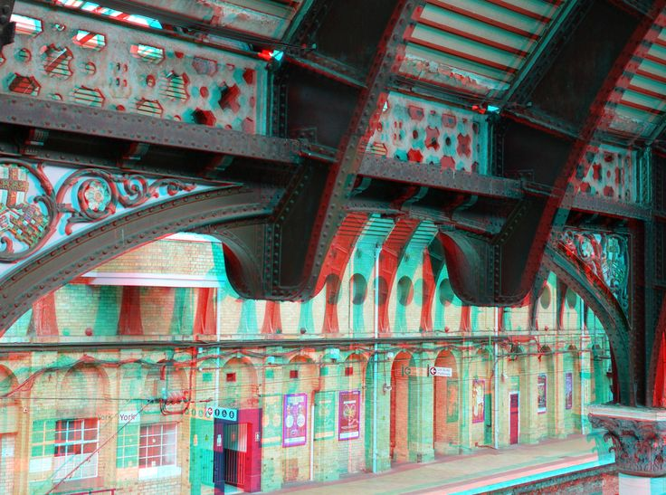 https://flic.kr/p/GJSziA | Railway-station York 3D | anaglyph stereo red/cyan