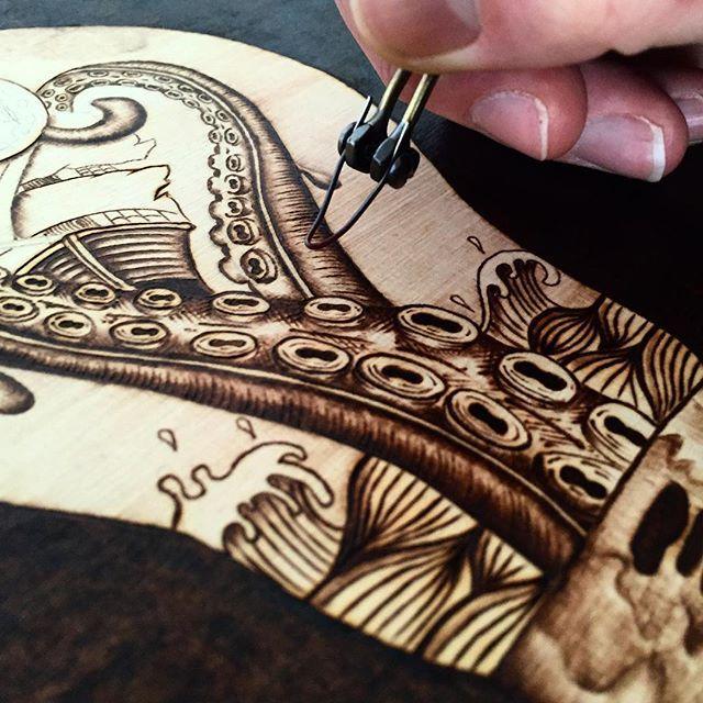 instagood #wood #illustration #photooftheday #igers #pyrography #artistofinstagram #pyrographyart #octopus #british #tentacles #drawing #timberlee #woodburning #artist #creative #art #etsy #tattoodesign #timberleepyrography #bestoftheday #inspire #kraken #dailyart #love #igholland #nautical #design #pyro #nature