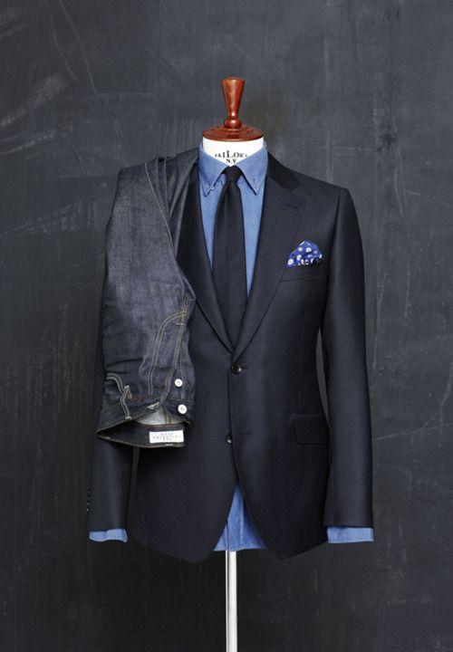Denim and navy from * C U R A T E D * S T Y L E * #mens #jacket #pocketsquare