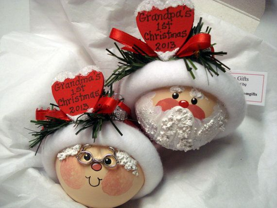 First Christmas Gift Grandparents Set Hand Painted Ornaments Handmade with Red Hearts