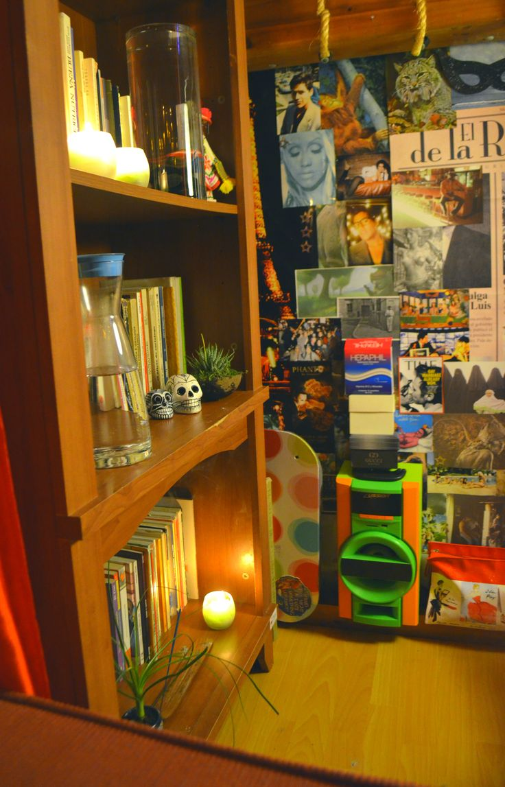 """""""The Creative Cave Part 2""""  When Im reading, smoking, listening music or whatever, I like to watch that collage, and I get so much inspiration about the different situations around the world.  #Bookseller #Mexican #Room #EtnoHipster #Hipster #Collage #Books #Plants"""