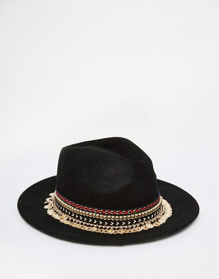 Image 3 of ASOS Felt Panama Hat With Aztec Trim And Chain