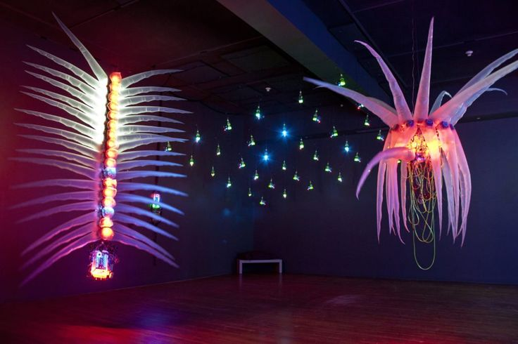 """""""Reusable Universes: Shih Chieh Huang"""" at the Worcester Museum, installation view. Courtesy of Sarah Cascone."""