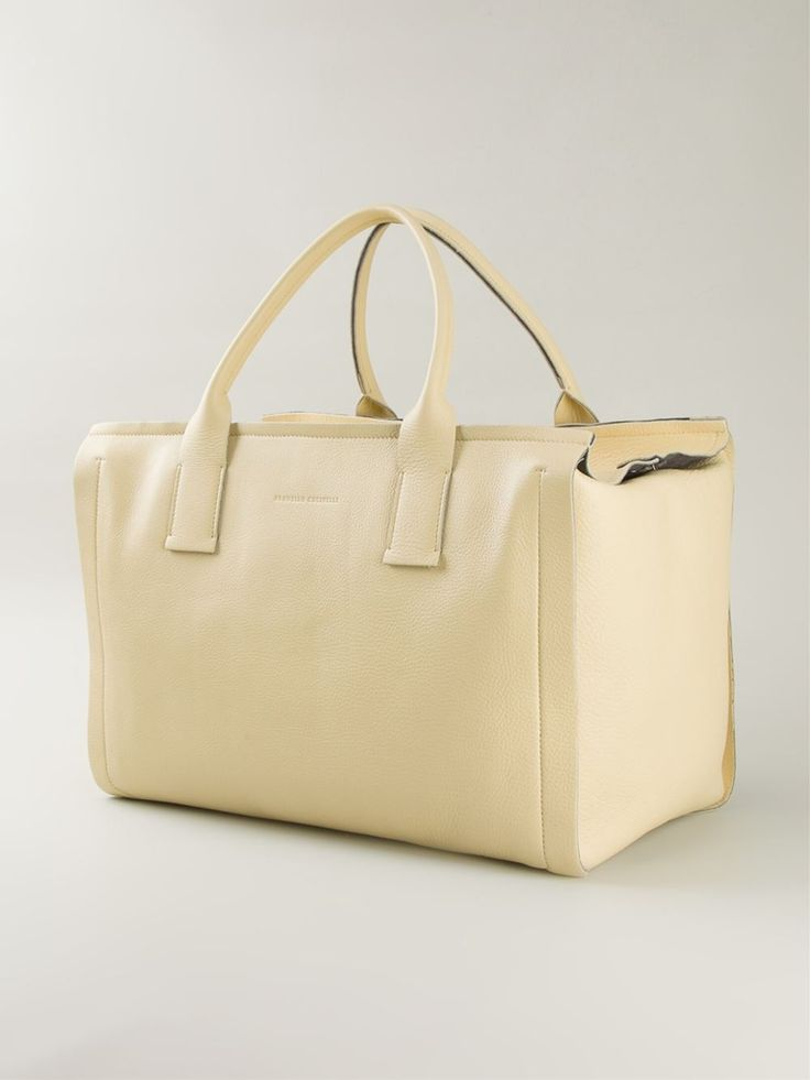 Crema yellow leather boxy shopper tote from Brunello Cucinelli