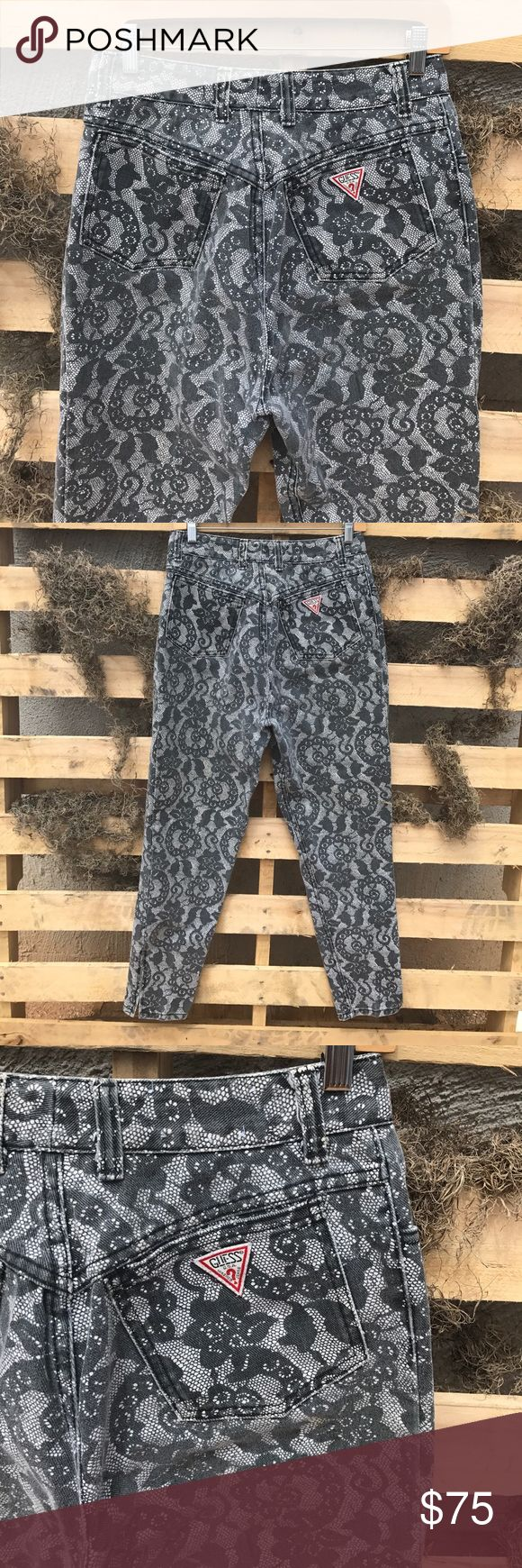 """VINTAGE GUESS? Marciano Lace High Rise jeans 31 Amazing Vintage Lace jeans from Marciano for Guess! Extra high rise! Zippered ankles. In great condition. Has three cream paint marks on front legs.(see last photo for example) Waist: 14"""" Front Rise: 13.5"""" Inseam: 28"""" Guess by Marciano Jeans"""