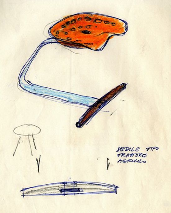 A drawing of the Mezzadro stool designed by Achille & Pier Giacomo Castiglioni in 1957. Meaning 'sharecropper' in Italian, Mezzadro was originally designed in the early 20th century and was part of Castiglioni's 'ready-made' series from found objects. The finished product is made in Italy by Zanotta from chrome plated steel and steam-treated beech with an aluminum seat.