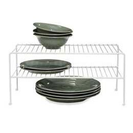 Top might be narrow in over sink cabinet but can squeeze in plates, probably. $10