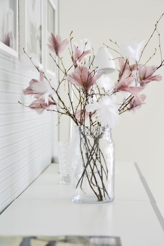 Easter decoration, pink and white feathers. Scandinavian details