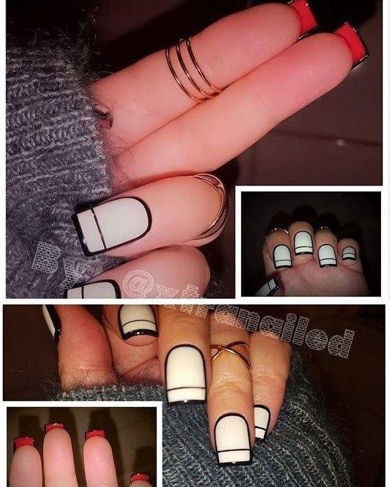 Black & white nails with red flip side.  #nails #flipnails #nailart #negler