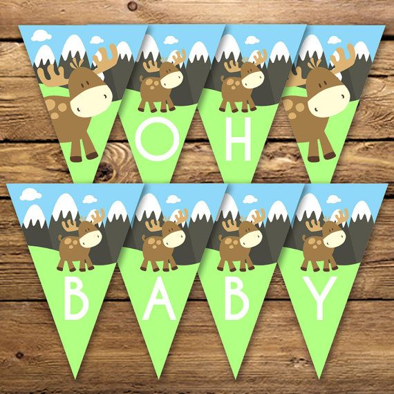 Moose Baby Shower Oh Baby Banner  Unique by Poetryinsimplethings