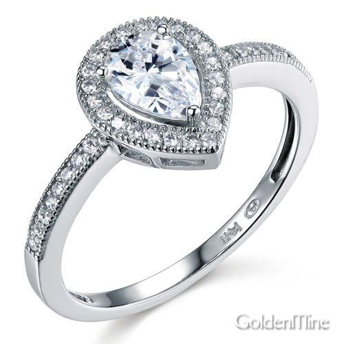 Antique-Style+Halo+Pear-Cut+CZ+Engagement+Ring+in+14K+White+Gold