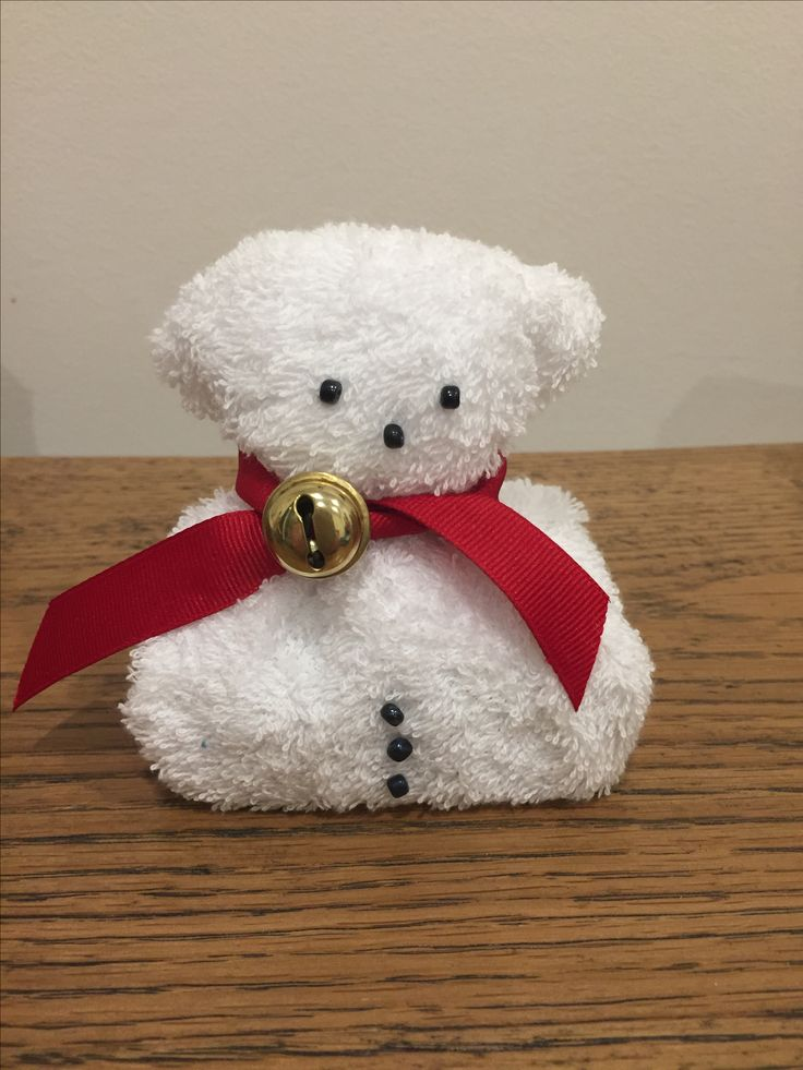 M Christmas teddy bear. Natural soap wrapped in a white face washer.