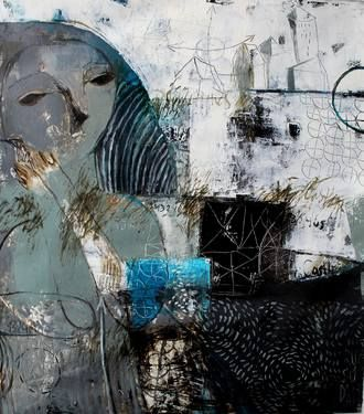 """The Castle,"" original expressionist painting by artist Rusudan Khizanishvili (Georgia) available at Saatchi Art #SaatchiArt"