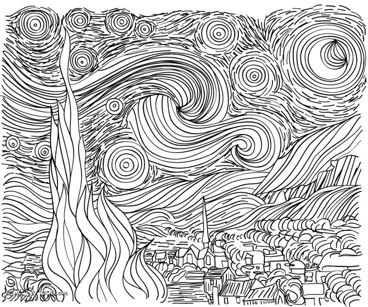 line drawing starry night van gogh could use as a. Black Bedroom Furniture Sets. Home Design Ideas