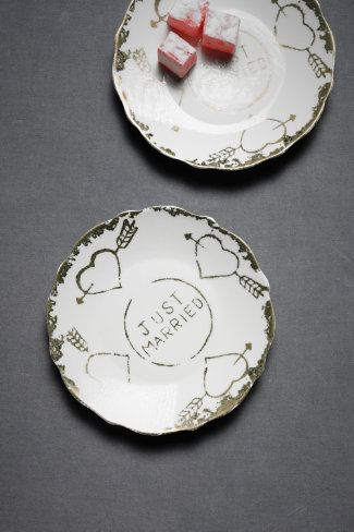 great wedding gift - just married tea plates, set of 2 at BHLDN