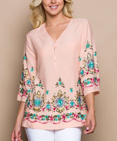 3907c9f96063 Look what I found on  zulily! Peach   Turquoise Arabesque Button-Front Top  - Women  zulilyfinds