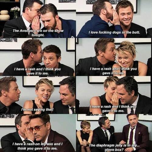 Avengers cast - The Avengers: Age of Ultron interview #funny #hilarious - Chris Evans, Chris Hemsworth, Jeremy Renner, Scarlett Johansson, Mark Ruffalo, Robert Downey Jr.