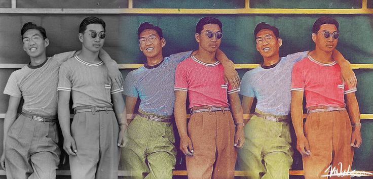 American Japanese men in internment camps during World War II