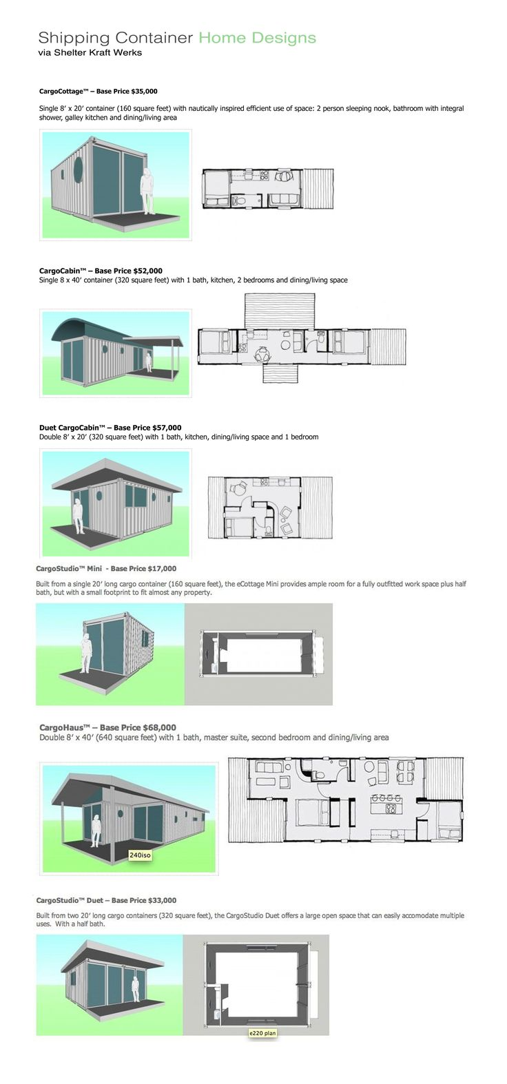 Shipping container home designs from Seattle-based retrofitter Shelter Kraft Werks (http://shelterkraft.com/residential-housing/stock-house-models/)