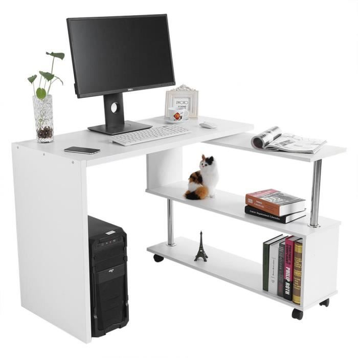 Bureau Reglable Table D Ordinateur 360 Degres Avec Etageres Rangement Livre Meuble Bureau Salon Home Decor Home Desk