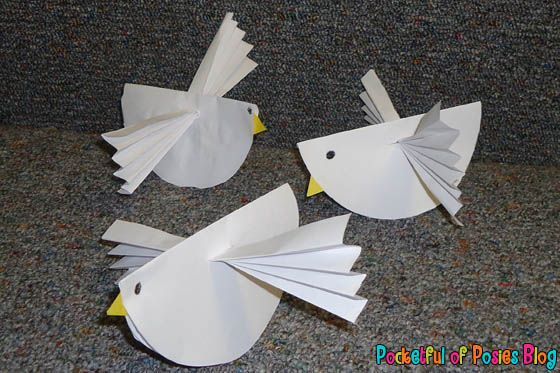 Sunday School Crafts: Shape Dove (Jesus' Baptism) - Pocketful of Posies.  Cute little bird!  Could also be a raven or a sparrow.
