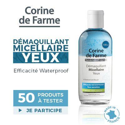 Test produits - Démaquillant Micellaire Yeux de Corine de Farme - Nous recherchons 50 testeurs ! Posez votre candidature gratuitement.