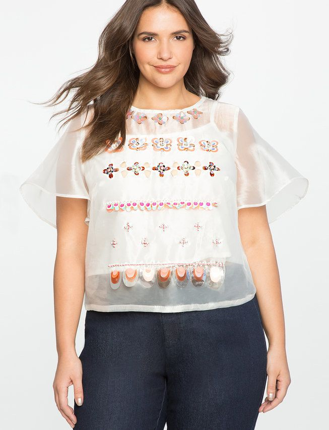 ELOQUII Studio Embellished Flutter Sleeve Top