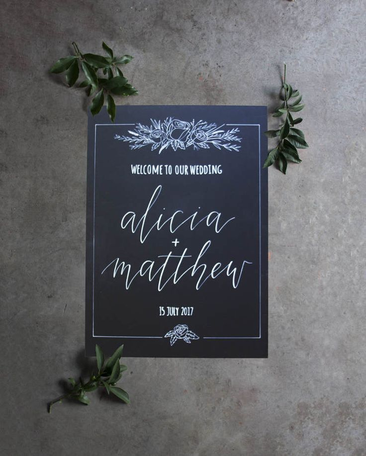 Wedding Chalkboard Welcome Sign. Floral Chalkboard Wedding Design. Vintage Wedding Signage. Wedding Decoration. Flower Sign. by FoxAndHart on Etsy