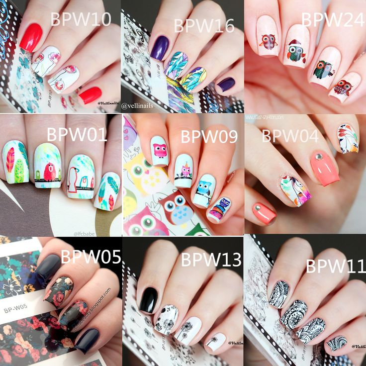 20 Pattern Born Pretty Nail Art Water Transfer Decals Nail Stickers Flower Leaf Feather Cute Owl Pattern Nail Art Decorations