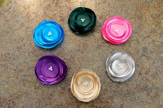 Burned edge satin flower headband with pearls in by LittleShneebs, $5.00