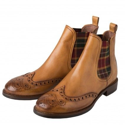 Tan Chelsea Boot with Check Gusset   Shoes and Boots   Ladieswear #classicfashion #englishstyle