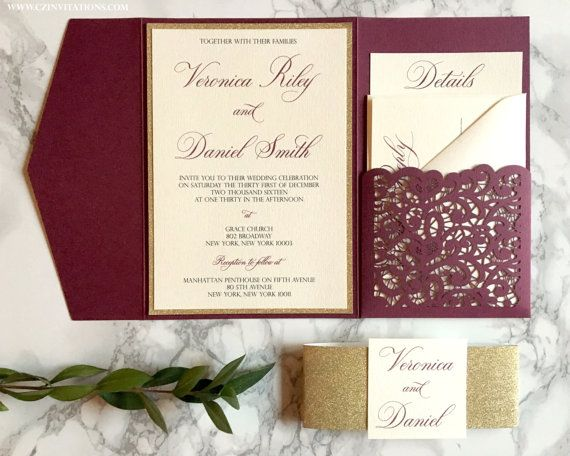 Lace Laser Cut Pocket Wedding Invitation in Burgundy and Gold Glitter by CZ Invitations.