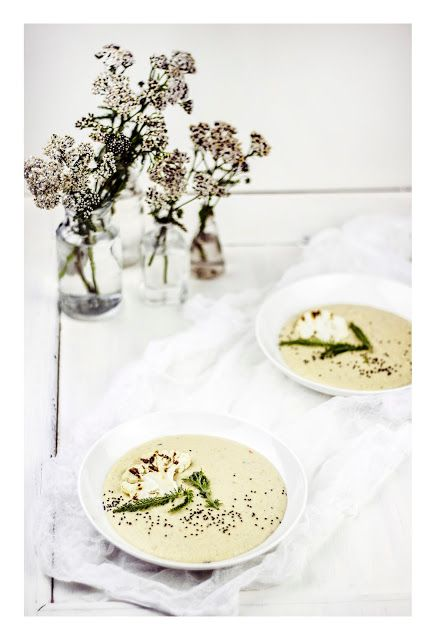 Baked cauliflower tahini & milfoil soup