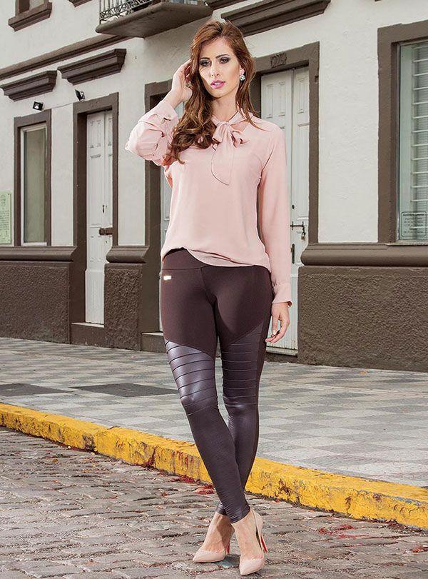 Calça Legging Montaria Cirrê  Brilho Recortes Horizontais Drapeado Casual Moda Feminina Rosa Goiaba