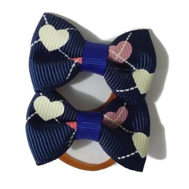 LittlePetPlanet.com - Blue Heart Argyle Ribbon Bow Dog Hair Elastic Bands, US$4.99
