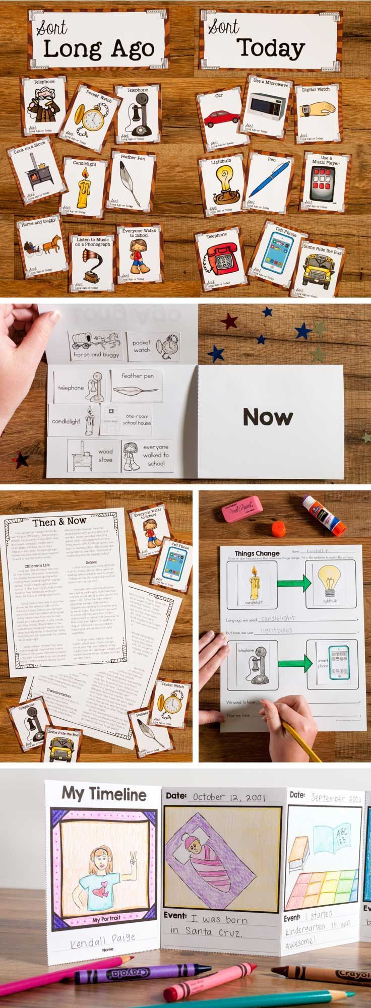 Long Ago & Now unit helps students understand how their lives relate to things and events long ago. includes: compare and contrast artifacts long ago & today, nonfiction article, family tree, grandparent (or older relative) interview, and a timeline. Teac