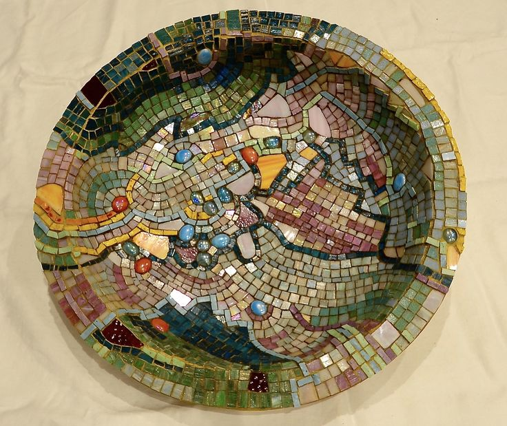 Mosaic bird bath dish - 2008